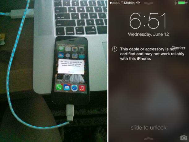 Cable No certificado iOS 7