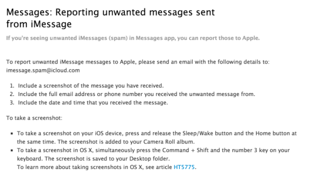 Reportar Spam iMessage