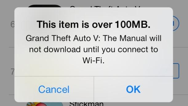 100mb limite iOS 7