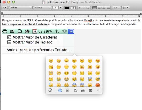 Captura Emoji en App TextEdit