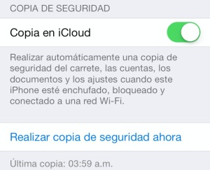 Copia de seguridad iCloud